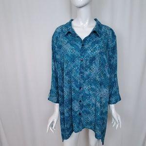 Catherines Blue Teal Print 3/4 Sleeve Blouse